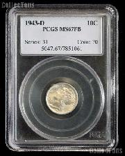 1943-D Mercury Dime in PCGS MS 67 FB (Full Bands)