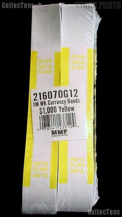 Currency Straps $1000 Yellow for 100 Ten Dollar Bills Pack of 1,000 Bands