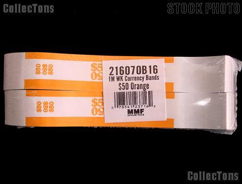 Currency Straps $50 Orange for 50 One Dollar Bills Pack of 1,000 Bands