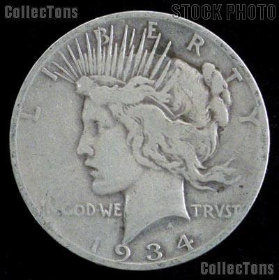 1934 S Peace Silver Dollar Circulated Coin VG-8 or Better