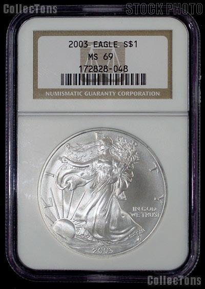 2003 American Silver Eagle Dollar in NGC MS 69