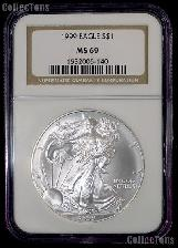 1999 American Silver Eagle Dollar in NGC MS 69
