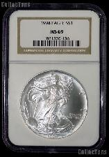 1994 American Silver Eagle Dollar in NGC MS 69