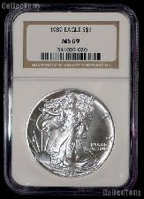 1989 American Silver Eagle Dollar in NGC MS 69