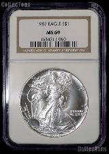 1987 American Silver Eagle Dollar in NGC MS 69