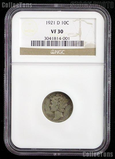 1921-D Key Date Mercury Silver Dime in NGC VF 30