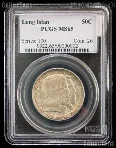 1936 Long Island Tercentenary Silver Commemorative Half Dollar in PCGS MS 65