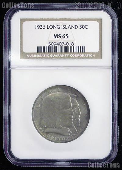1936 Long Island Tercentenary Silver Commemorative Half Dollar in NGC MS 65