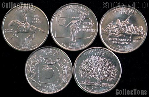 1999 Quarters Set of 5 BU Coins 1999 State Quarters Philadelphia (P) Mint