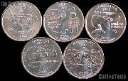 2002 Quarters Set of 5 BU Coins 2002 State Quarters Philadelphia (P) Mint