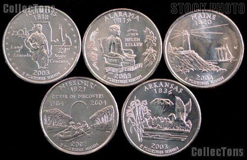 2003 Quarters Set of 5 BU Coins 2003 State Quarters Philadelphia (P) Mint