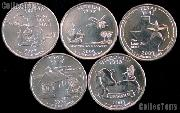 2004 Quarters Set of 5 BU Coins 2004 State Quarters Philadelphia (P) Mint