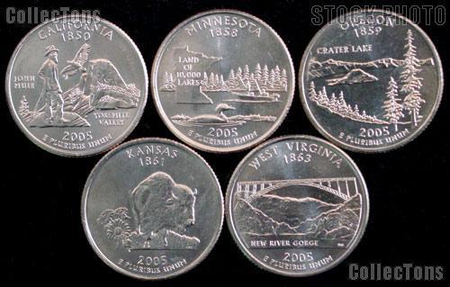 2005 Quarters Set of 5 BU Coins 2005 State Quarters Denver (D) Mint
