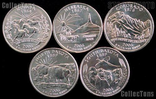 2006 Quarters Set of 5 BU Coins 2006 State Quarters Philadelphia (P) Mint