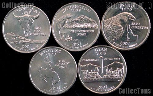2007 Quarters Set of 5 BU Coins 2007 State Quarters Philadelphia (P) Mint