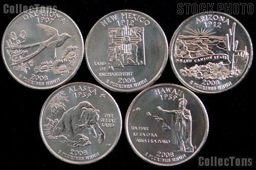 2008 Quarters Set of 5 BU Coins 2008 State Quarters Denver (D) Mint