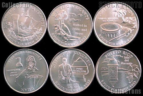 2009 Quarters Set of 6 BU Coins 2009 DC & Territory Quarters P Mint