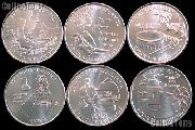 2009 Quarters Set of 6 BU Coins 2009 DC & Territory Quarters Denver Mint