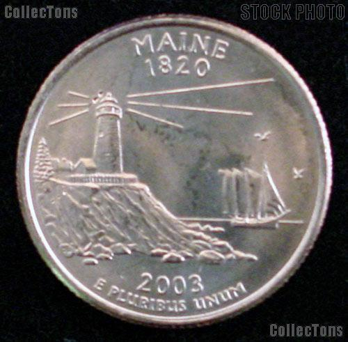 Maine Quarters 2003 P & D Maine Washington Quarters GEM BU for Album