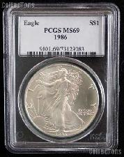 1986 American Silver Eagle Dollar in PCGS MS 69