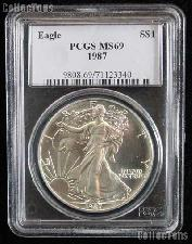 1987 American Silver Eagle Dollar in PCGS MS 69