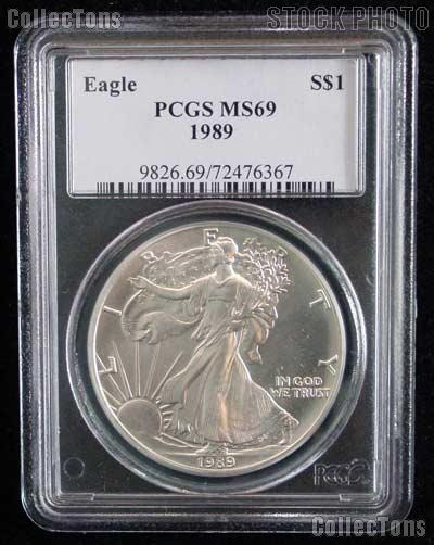 1989 American Silver Eagle Dollar in PCGS MS 69