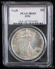 1990 American Silver Eagle Dollar in PCGS MS 69