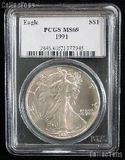 1991 American Silver Eagle Dollar in PCGS MS 69