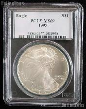 1995 American Silver Eagle Dollar in PCGS MS 69