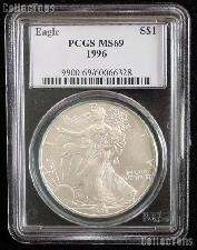 1996 American Silver Eagle Dollar in PCGS MS 69