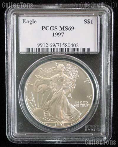 1997 American Silver Eagle Dollar in PCGS MS 69