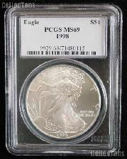 1998 American Silver Eagle Dollar in PCGS MS 69