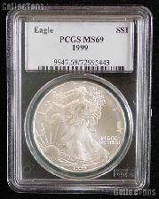 1999 American Silver Eagle Dollar in PCGS MS 69