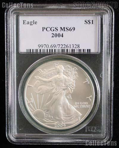 2004 American Silver Eagle Dollar in PCGS MS 69