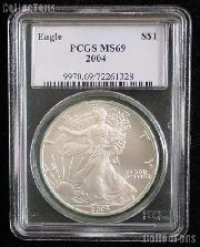2004 American Silver Eagle Dollar in PCGS MS 69
