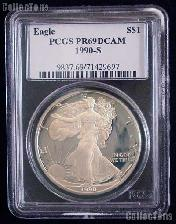 1990-S American Silver Eagle Dollar PROOF in PCGS PR 69 DCAM