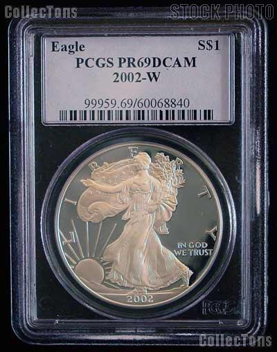 2002-W American Silver Eagle Dollar PROOF in PCGS PR 69 DCAM
