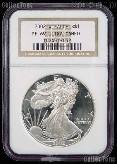2002-W American Silver Eagle Dollar PROOF in NGC PF 69 ULTRA CAMEO