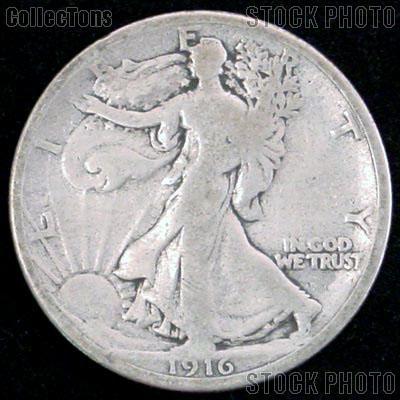 1916 Walking Liberty Silver Half Dollar Circulated Coin G 4 or Better