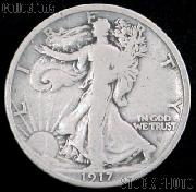 1917-D Walking Liberty Silver Half Dollar Reverse Mintmark Circulated Coin G 4 or Better
