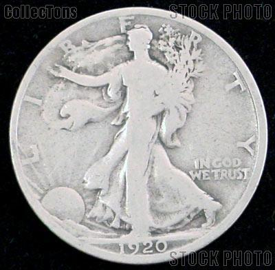 1920-S Walking Liberty Silver Half Dollar Circulated Coin G 4 or Better