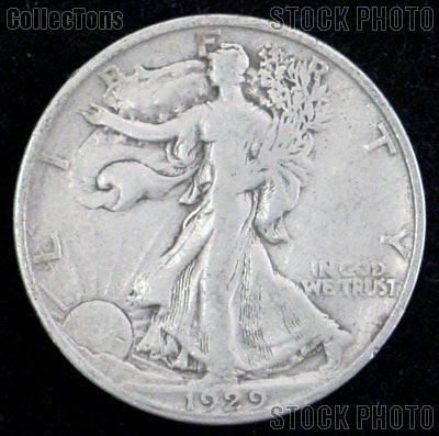 1929-D Walking Liberty Silver Half Dollar Circulated Coin G 4 or Better