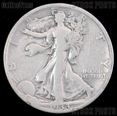 1933-S Walking Liberty Silver Half Dollar Circulated Coin G 4 or Better
