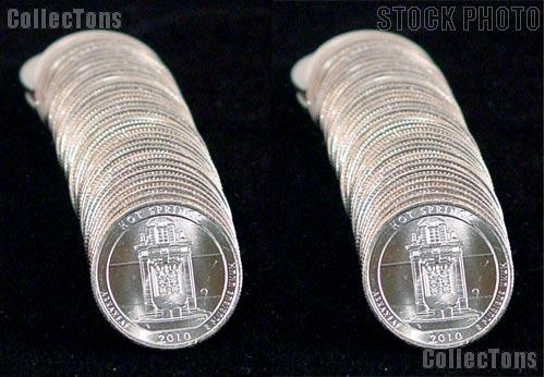 2010 P & D Arkansas Hot Springs National Park Quarter Bank Wrapped Rolls 80 Coins