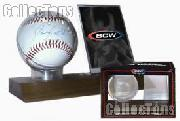 Baseball & Card Case by BCW Wood Base Baseball & Card Holder (Real Walnut)