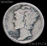 1921-D Mercury Silver Dime KEY DATE 1921 Mercury Dime Circ Coin G 4 or Better