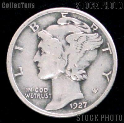 1927-D Mercury Silver Dime 1927 Mercury Dime Circ Coin G 4 or Better