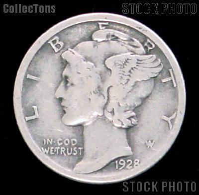 1928 Mercury Silver Dime 1928 Mercury Dime Circ Coin G 4 or Better