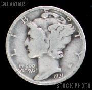 1931 Mercury Silver Dime 1931 Mercury Dime Circ Coin G 4 or Better