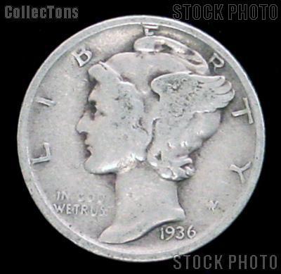1936-D Mercury Silver Dime 1936 Mercury Dime Circ Coin G 4 or Better